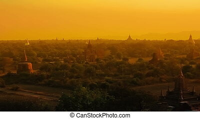 Sunset in Bagan, Myanmar. Irrawaddy River in the distance.
