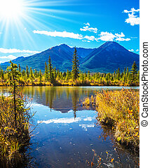 Sunset in Banff National Park - Concept of ecotourism. Rocky...