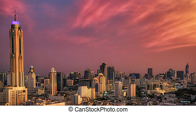 Sunset in Bangkok city