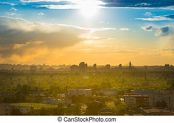downtown cityscape with sunset sky