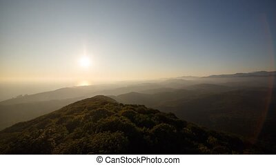 Sunset in Black Sea, view from Mount Akhun. Time Lapse. Sochi, Russia
