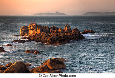 Sunset in Brittany - Beautiful sunset over the rocks of Pink...