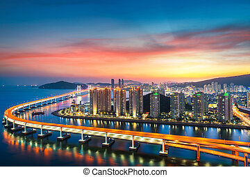 Sunset in Busan city with building
