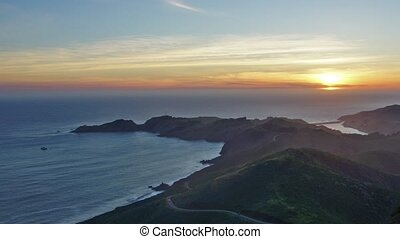 Sunset in California - Panoramic time-lapse of ocean sunset...