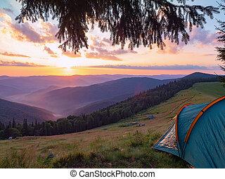 Sunset in Carpathians mountains at summer, Ukraine....