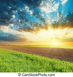 sunset in cloudy sky over agricultural fields