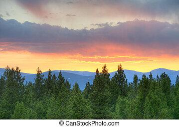 Sunset in Colorado Rockies