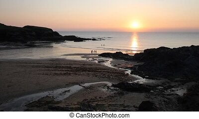 Sunset in Cornwall Treyarnon Bay - Treyarnon Bay Cornwall...