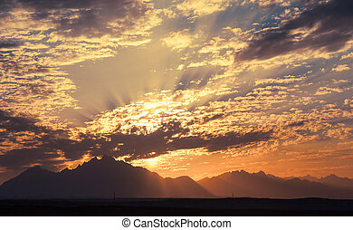 Sunset in Desert - Sahara Rocky Mountains