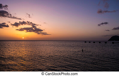 Sunset in Dominica Over Caribbean Sea