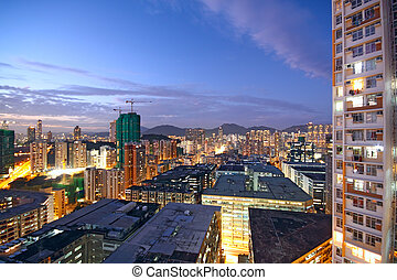 sunset in downtown area, hong kong