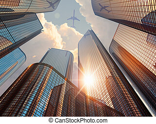 Creative abstract business corporate construction industry and real estate financial concept: 3D render illustration of beautiful sunset with blue modern high tall glass reflective skyscrapers in city downtown district with sun light and airliner in dramatic sky with clouds