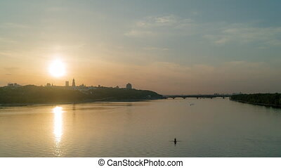 Sunset in early May, the Dnieper River in the city of Kiev...