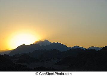 sunset in Egyptian rocky desert