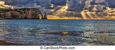Sunset in Etretat, France