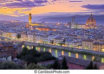 Sunset in Florence - Beautiful sunset over river Arno in ...