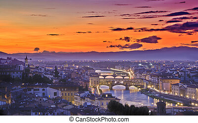 Beautiful sunset over river Arno in Florence, Italy,