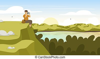 Sunset in forest flat vector illustration. Backpacker photogrph landscape. Man sit on hill. Photographer on mountain peak. Sunset on lake. Panoramic scene. Male tourist cartoon characters
