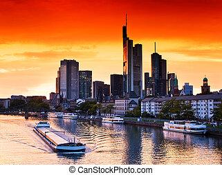Sunset in Frankfurt am Main, Germany