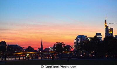 Sunset in Frankfurt am main. Promenade.