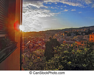 Sunset in Genoa, Italy