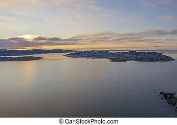 Sunset in Gothenburg drone photo