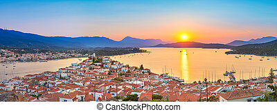 Sunset on Poros island in Aegean sea, Greece