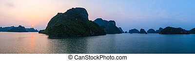 Sunset in Halong Bay, panorama