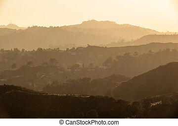 sunset in Hollywood forest, Los Angeles
