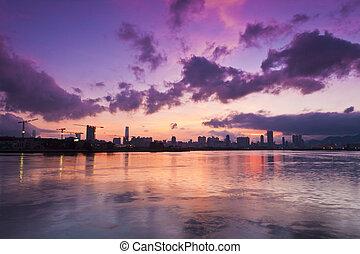 Sunset in Hong Kong downtown