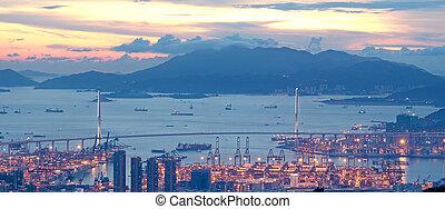 sunset in hong kong