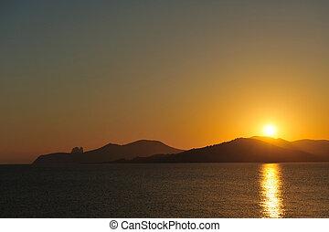 Sunset in Ibiza seen from Cap de Falco, Ibiza, spain