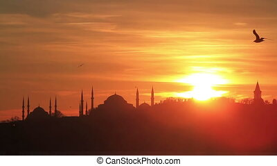 Sunset in Istanbul - Istanbul, Sarayburnu. In the distance...