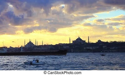 Sunset in Istanbul - Sailing by the sunset in front of...