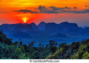 Sunset in Krabi mountains
