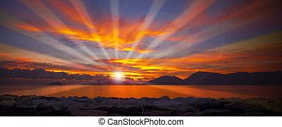 Sunset in Lerici - Liguria Italy - Sunset over the Gulf of...