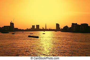Sunset in London during summer time