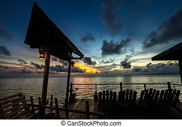 Sunset in  Mabul Island Stock Photo