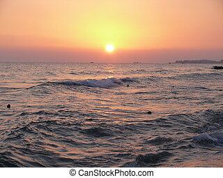 Sunset in mediterranean sea