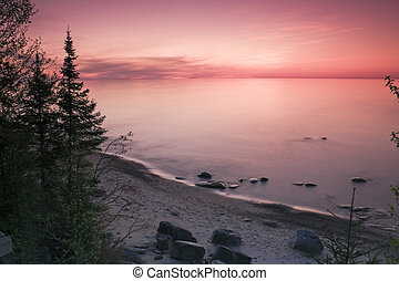 Sunset in Michigan - Sunset in Pictured Rocks National...