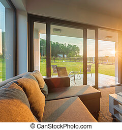 Sunset in modern living room