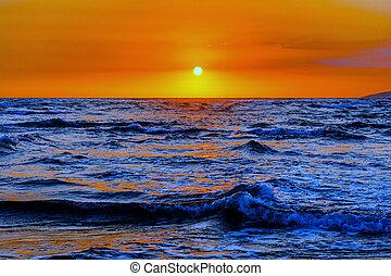 Sunset in Montenegro on the sea