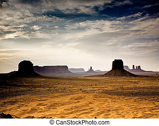 sunset in Monument Valley in Arizona, seen from the gigantic Stone figures from Artists point