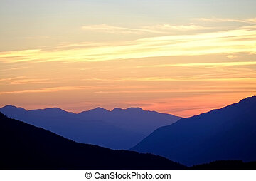Sunset in Mountains.