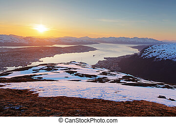 Sunset in moutain with fjord - Tromso