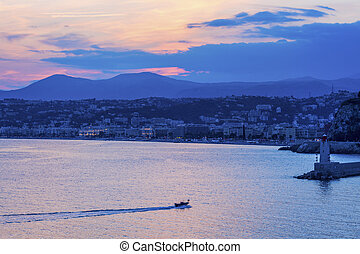 Sunset in Nice. Nice, French Riviera, France.