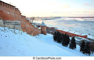 Sunset in november Nizhny Novgorod Kremlin Russia