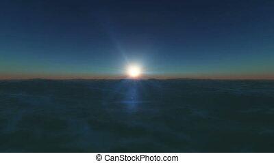 sunset in ocean 4k