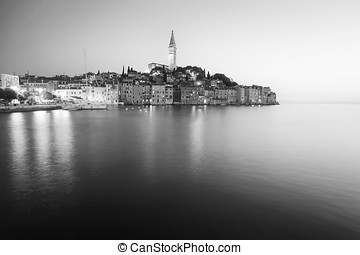Sunset in old town of Rovinj bw
