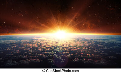 Sunset In Orbit with clouds